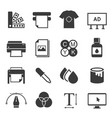 print shop black and white glyph icons set vector image