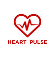 red heart pulse logo template vector image