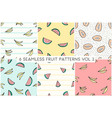 seamless repeat fruit patterns collection vector image vector image