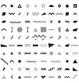 set geometric retro memphis style black vector image vector image