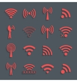set of different red wifi icons for communication vector image vector image