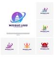 set of mosque logo design concept templateplanet vector image