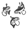 set salmon and fishing hook design element vector image vector image