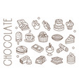 set with chocolate sweets ice-cream hot cocoa vector image vector image