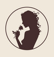 silhouette of beautiful curly girl vector image