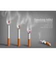 smoldering cigarette with a smoke vector image vector image