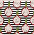 striped seamless pattern dragon fruit or pitaya vector image vector image