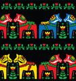 Swedish Dala horse folk seamless pattern on black vector image vector image