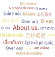 Tag cloud About us in different languages vector image vector image