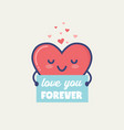 valentines day gift tag or card with cute vector image vector image