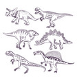 wild life with dinosaurs hand drawn vector image vector image