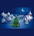 winter village christmas background greeting card vector image