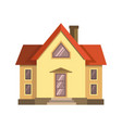 yellow house with red roof vector image vector image