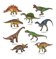 colored of different dinosaurs types vector image
