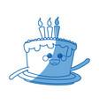kawaii cake candle sweet bakery happy vector image