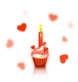 Birthday cake with candle Hearts on background vector image
