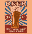 a vintage beer poster with glass beer