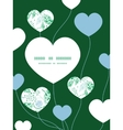 abstract blue and green leaves heart symbol vector image vector image
