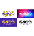 banking flat line concept for web banner and vector image vector image