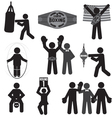 Black Symbol Boxing Icon Set vector image vector image