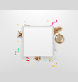 blank white frame with holiday accessories vector image vector image