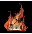 Burning house isolated on white bacground vector image
