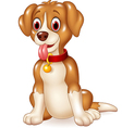 Cartoon funny dog sitting with tongue out vector image vector image