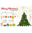christmas tree with fir gifts balls lights winter vector image