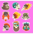 colorful scull stickers with war and biker culture