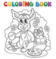 coloring book rabbit theme 3 vector image