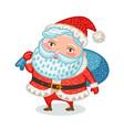 cute santa claus with full bag gifts christmas vector image vector image