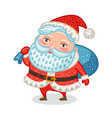 cute santa claus with full bag of gifts christmas vector image vector image