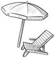 doodle beach chair umbrella vector image vector image