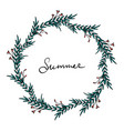 elegant summer wreath with green leaves vector image