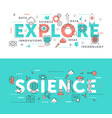 explore science word abstract thin line vector image vector image