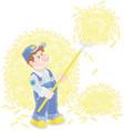 farmer tedding hay vector image