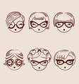 fashion girls in glasses icon set hand drawn eps vector image vector image