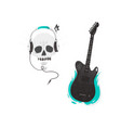 flat black electric guitar skull headphones vector image