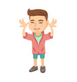 funny caucasian boy teasing with hands vector image