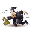 funny little men robber runs away with bag money vector image vector image