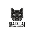 hand drawn black cat logo template vector image