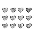 hand drawn hearts on white background vector image vector image