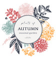 hand sketched autumn wreath design in color vector image vector image