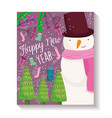 Happy new year snowman trees gift sock decoration