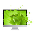 Icon Of Monitor With Leaves vector image