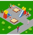 Isometric City City Park with Children Playground vector image vector image