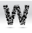 Letter W formed by inkblots vector image