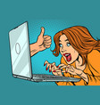 like thumb up woman blogger working on computer vector image vector image