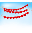 love heart bunting on blue sky vector image