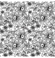 many flowers BW seamless vector image